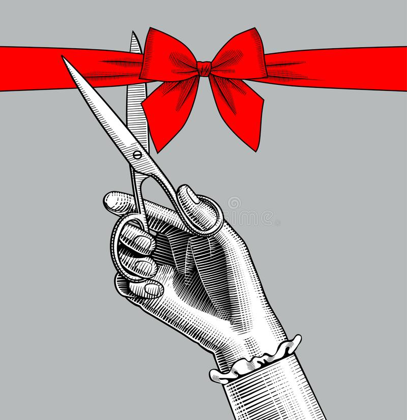 Klipp för hand för kvinna` s med sax ett rött band med pilbågen stock illustrationer