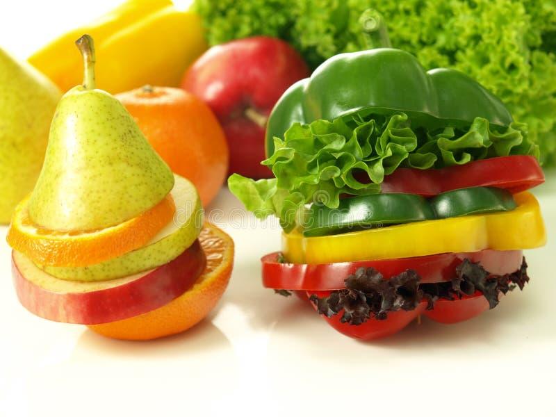 Klipp frukt och grönsaker royaltyfri foto