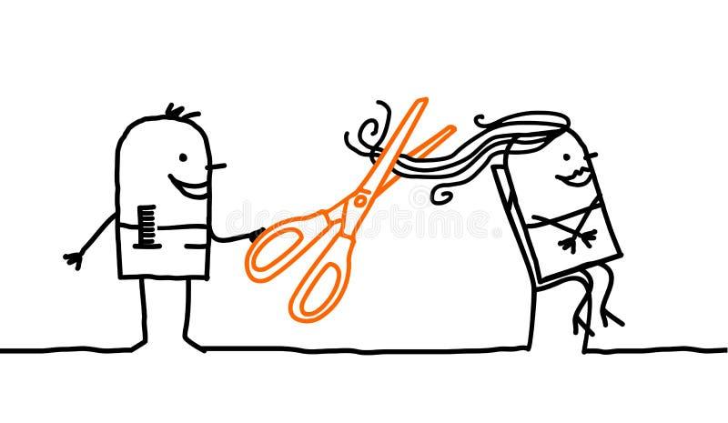 klipp hår stock illustrationer