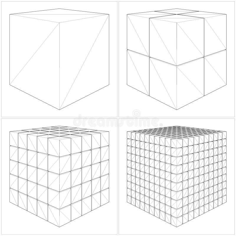 Klipp kuben från det enkelt till den invecklade vektorn vektor illustrationer