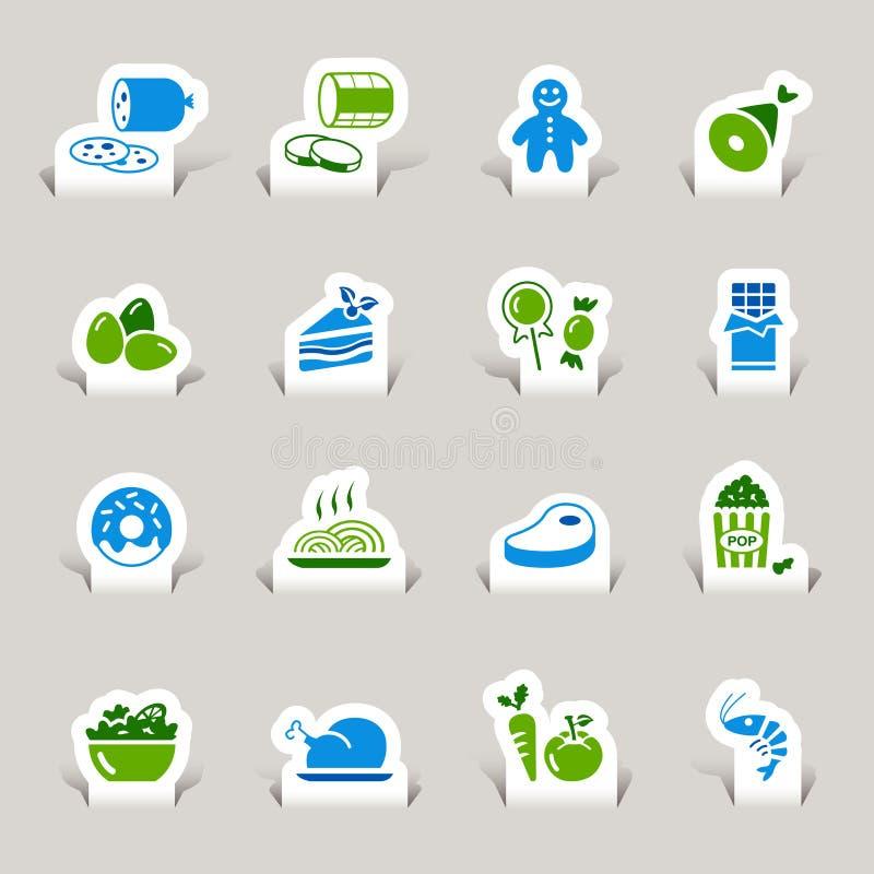klipp matsymbolspapper stock illustrationer