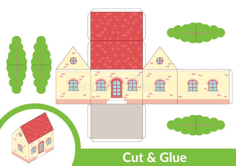 Klipp och lim ett hus Barnkonstlek f?r aktivitetssida Pappers- modell 3d ocks? vektor f?r coreldrawillustration royaltyfri illustrationer
