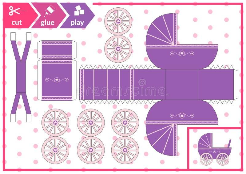 Klipp och limma en barnvagn Barnkonstlek f?r aktivitetssida Pappers- pram 3d ocks? vektor f?r coreldrawillustration vektor illustrationer