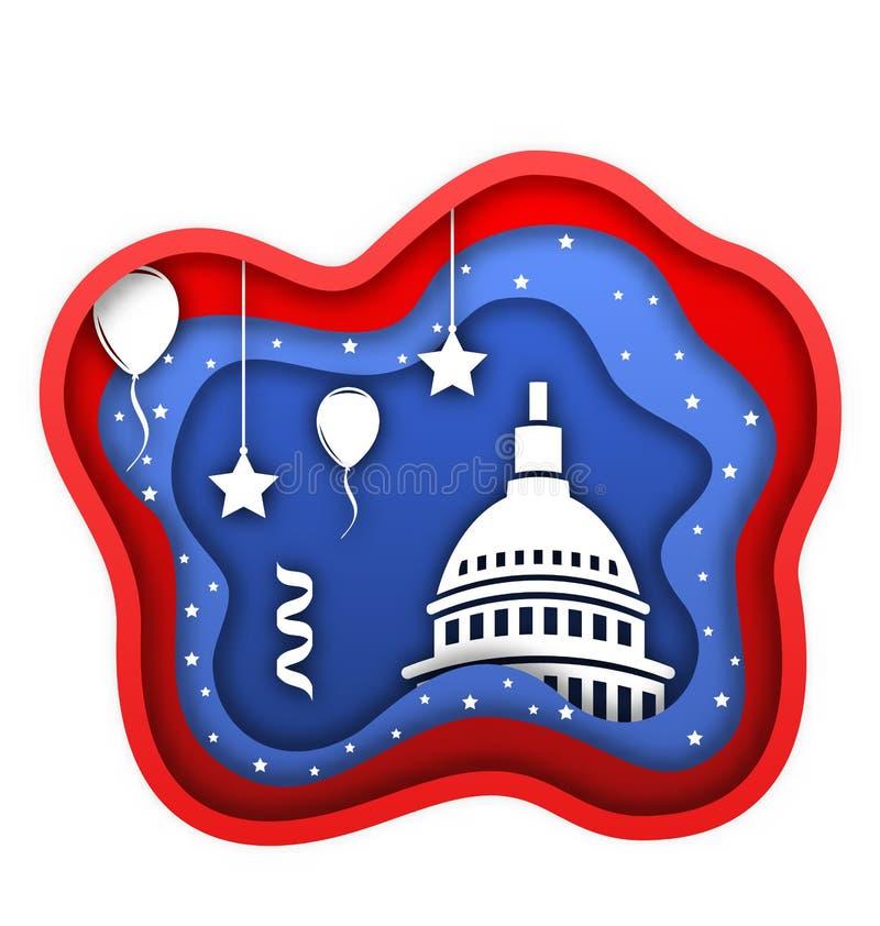 Klipp pappers- bakgrund för fjärdedel av den Juli självständighetsdagen av USA, Kapitolium, Ballons, konfettier royaltyfri illustrationer