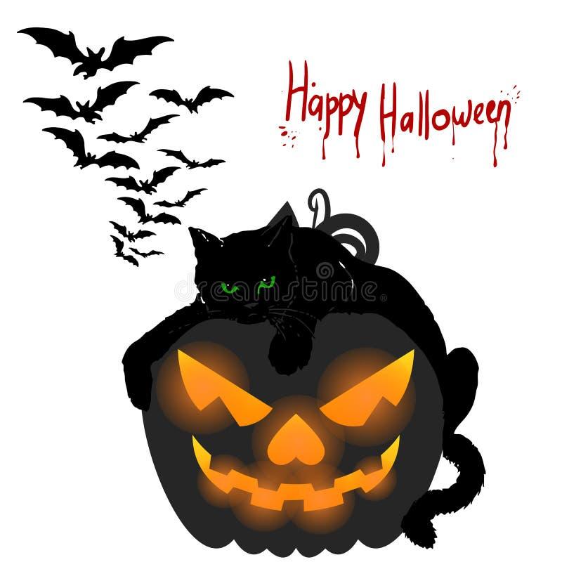 klipp pumpa för personen för halloween ferie ut Den svarta katten ligger på en pumpa, tecknad film vektor illustrationer