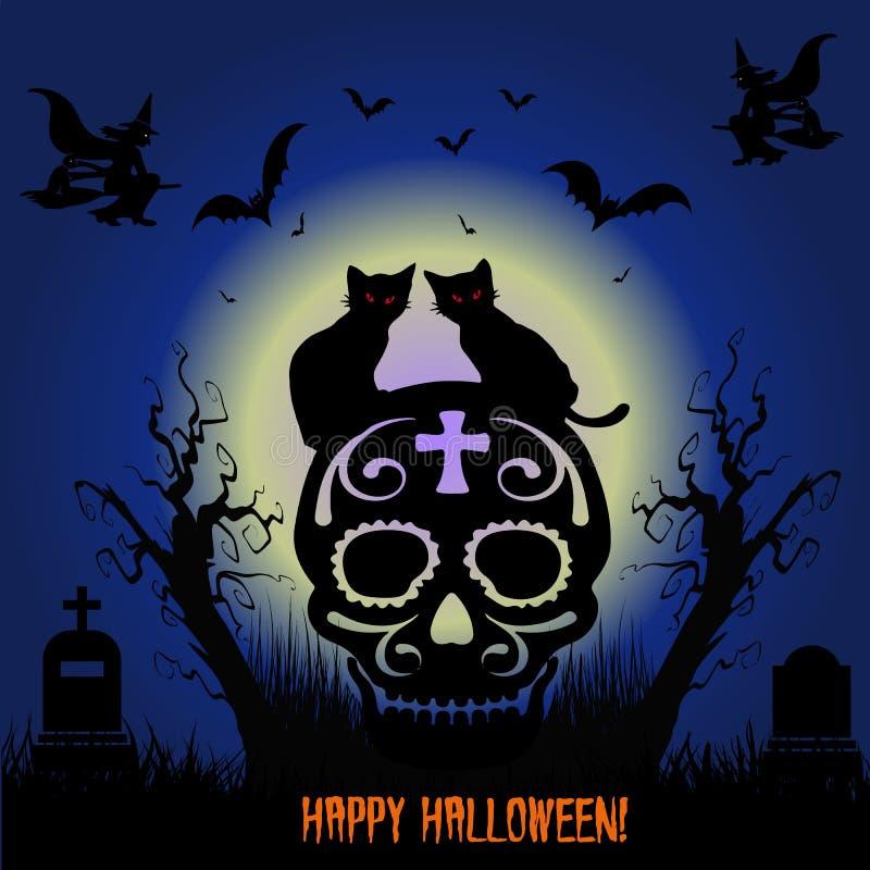 klipp pumpa för personen för halloween ferie ut Katter för svart två sitter på skallen, nattkyrkogård, vektor illustrationer