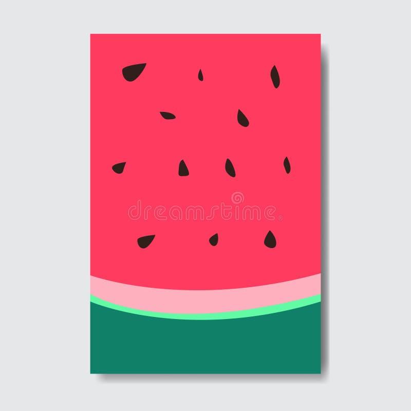 Klipp vattenmelonmallkortet, affisch för ny frukt för skiva på vit bakgrund, broschyr för orientering för tidskrifträkning vertik vektor illustrationer