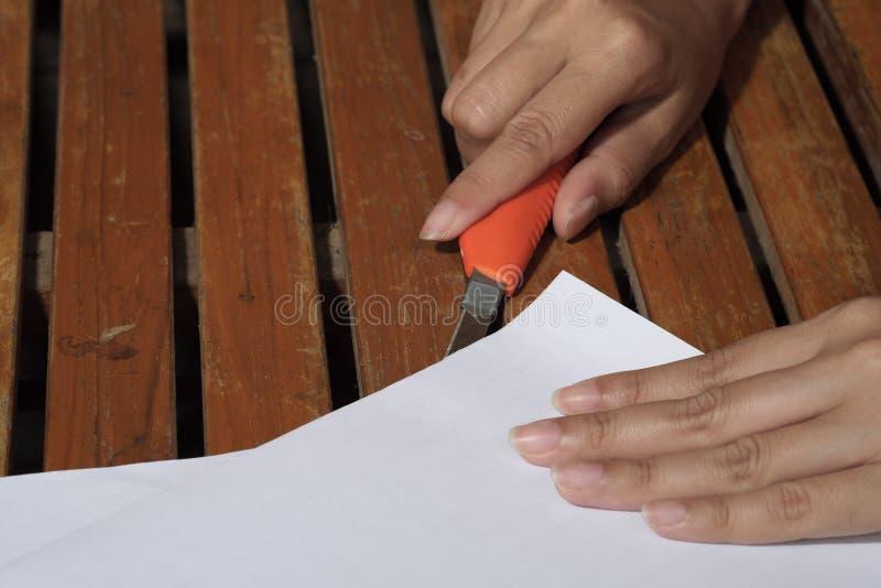 Klippa för kvinnahänder royaltyfria foton