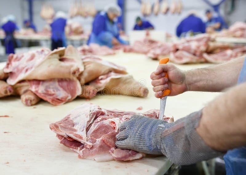 Klippa k?tt i slakthus Kött- och korvfabriken royaltyfri foto