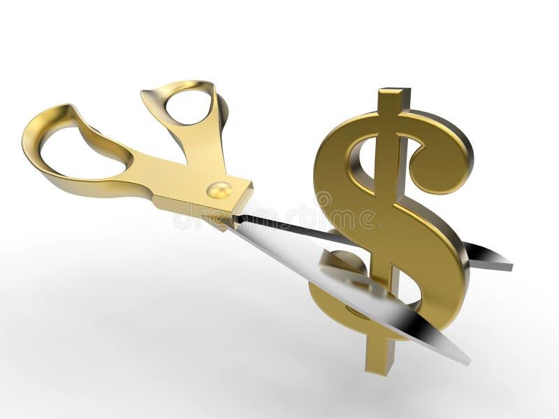 Klippa kostnader - guld- begrepp royaltyfri illustrationer