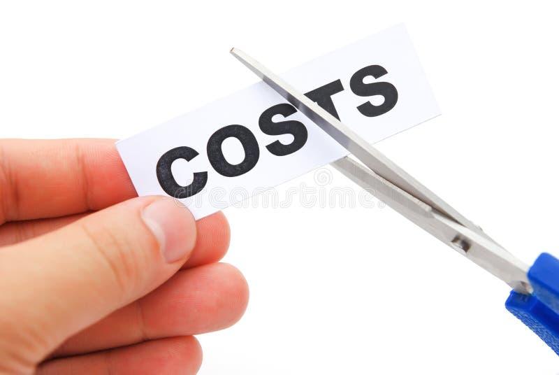 Klippa ner en etikett av kostnader arkivfoto