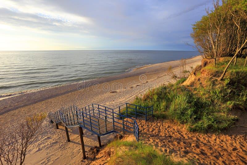 Klippa och strand för Östersjön kust skogsbevuxen under färgrik solnedgång arkivfoton