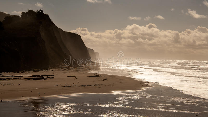 Klippa på San Gregorio State Beach Silhouette royaltyfri foto