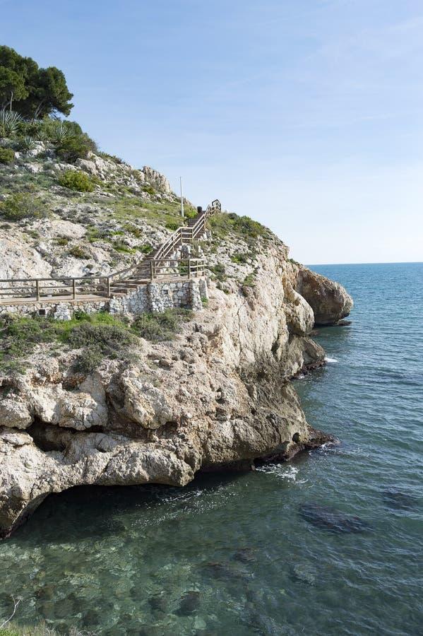 Klippa Rincon de la Victoria costa del solenoid Malaga Spanien royaltyfri bild