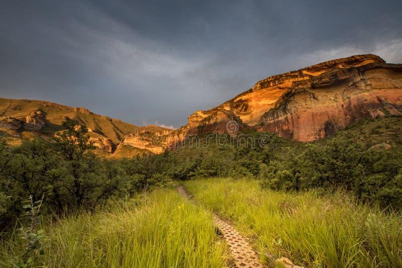 Klippaframsidor glöder röda i höglandnationalparken för den guld- porten som tänds upp av inställningssolen arkivfoton