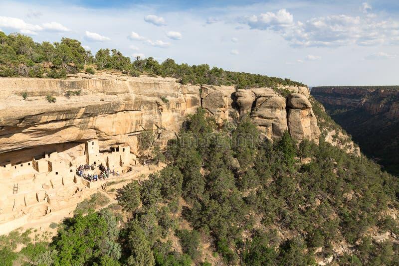 Klippaslott i Mesa Verde National Park, Colorado, USA arkivfoton