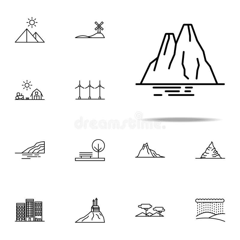 klippasymbol Universell uppsättning för Landspace symboler för rengöringsduk och mobil royaltyfri illustrationer