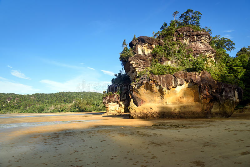 Klippe mit Baum auf tropischem Strand bei Ebbe lizenzfreie stockfotografie