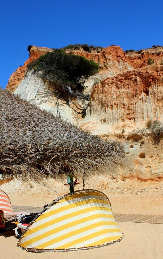 Klippen an Falesia-Strand in Algarve stockfotos