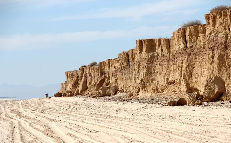 Klippen langs Oever van Overzees van Cortez dichtbij Gr Golfo DE Santa Clara, Sonora, Mexico royalty-vrije stock foto's