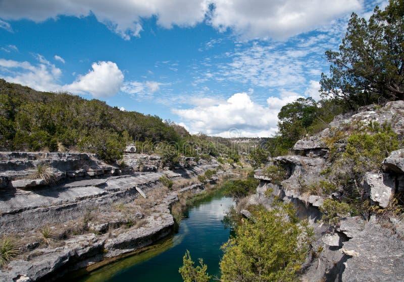 Klippen und Fluss mit blauem Himmel stockfotografie