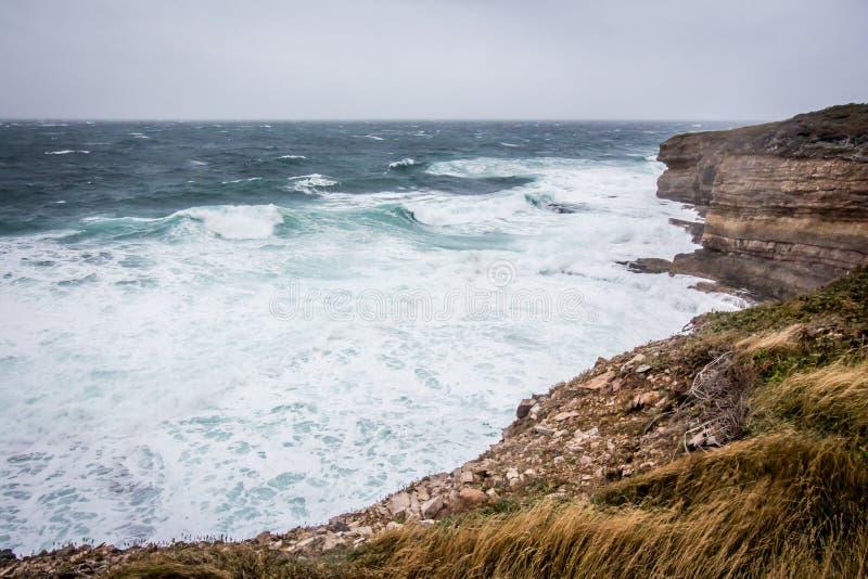 Klippen van Nova Scotia, Canada De Atlantische Oceaan, Rotsen stock fotografie