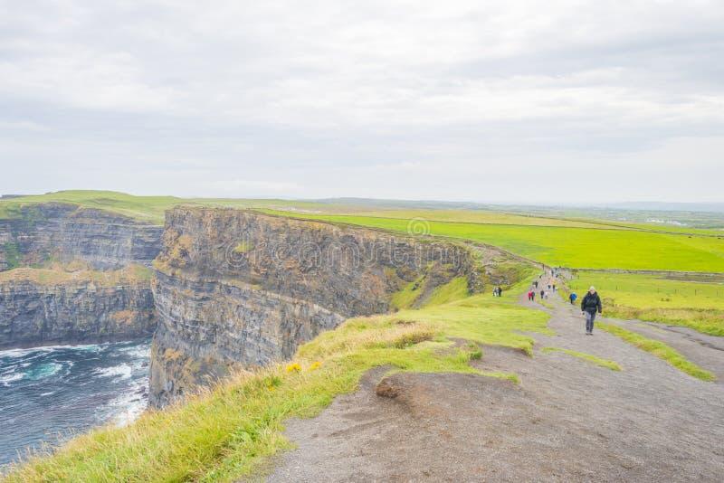Klippor av Moher i Irland längs Atlanticet Ocean i sommar royaltyfria bilder