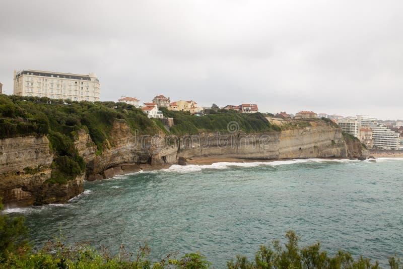 Klippor i Biarritz, Frankrike arkivbild