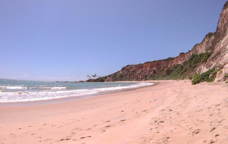 Klippor på stranden av Jacumã royaltyfri fotografi