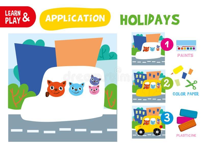 Klippt lim Cat Children Paper Application Game vektor illustrationer