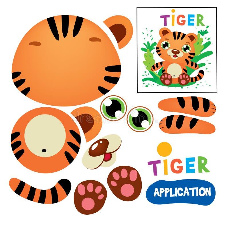 Klippt lim Tiger Children Paper Application Game stock illustrationer