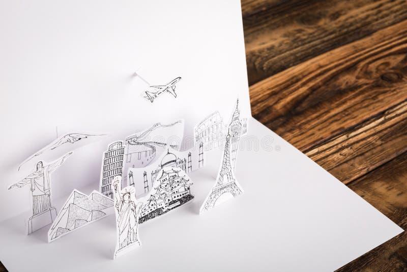 Klippt papper (Japan, Frankrike, Italien, New York, Indien, Egypten) arkivbilder