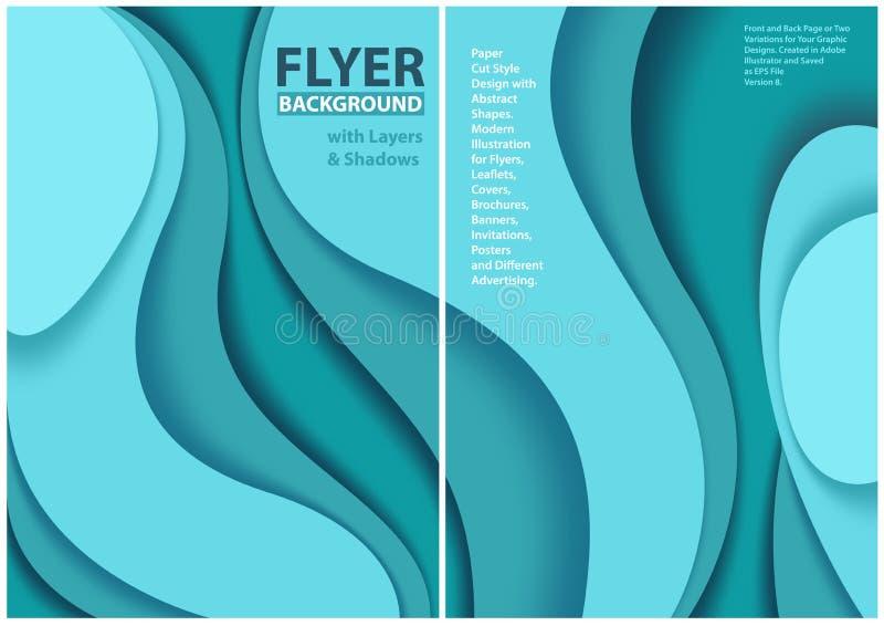 Klippt stildesign för reklamblad papper med blåa lager royaltyfri illustrationer