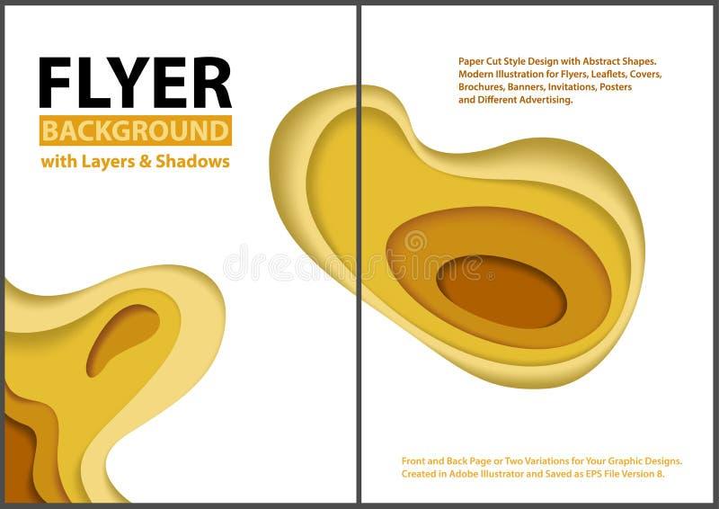 Klippt stildesign för reklamblad papper med gula lager stock illustrationer