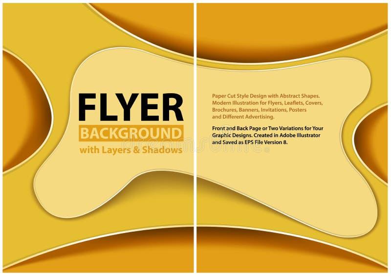 Klippt stildesign f?r reklamblad papper med gula lager vektor illustrationer