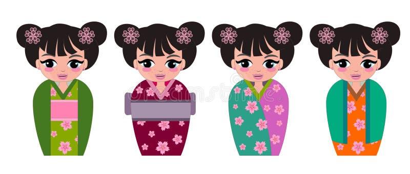 Klippt tecknad film för e-japanesseflicka stock illustrationer