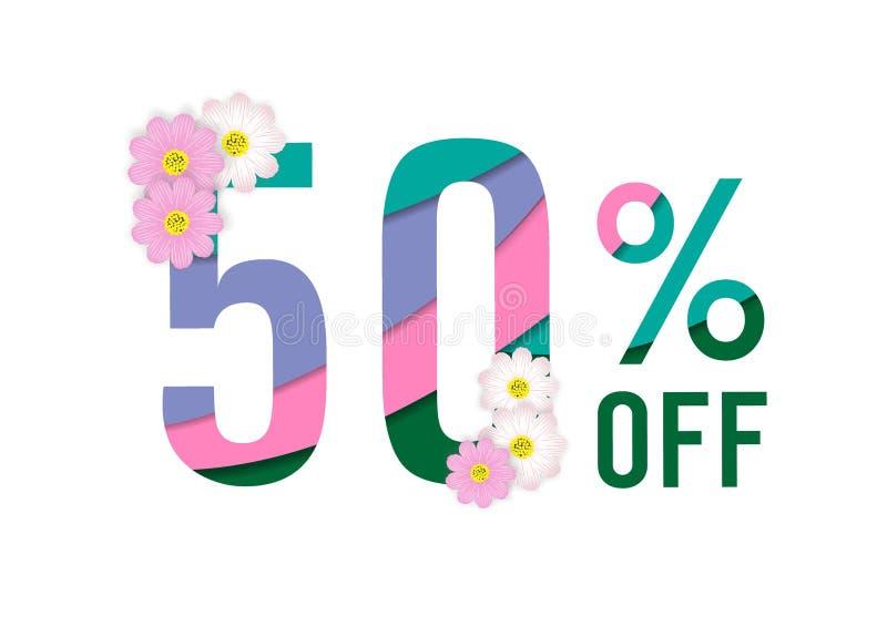 Klippte färgrikt papper för vårförsäljningen bakgrund med den härliga blomman, femtio procent av, vektorillustrationmallen, baner royaltyfri illustrationer