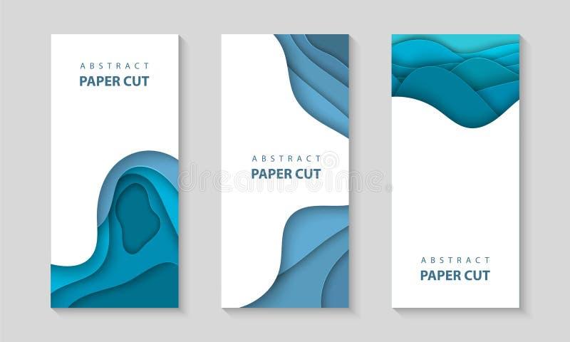 Klippte vertikala reklamblad för vektor med blått färgpapper vågformer 3D abstrakt pappers- stil, designorientering för affärspre royaltyfri illustrationer