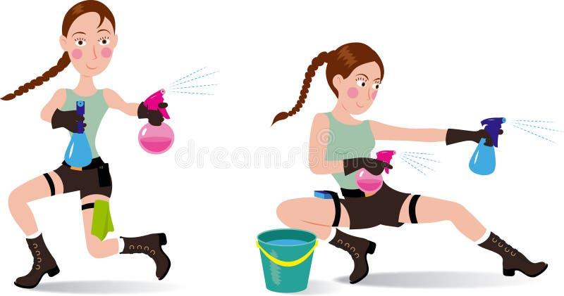 Klipsk dam lyckliga rengörande Lara Croft stock illustrationer