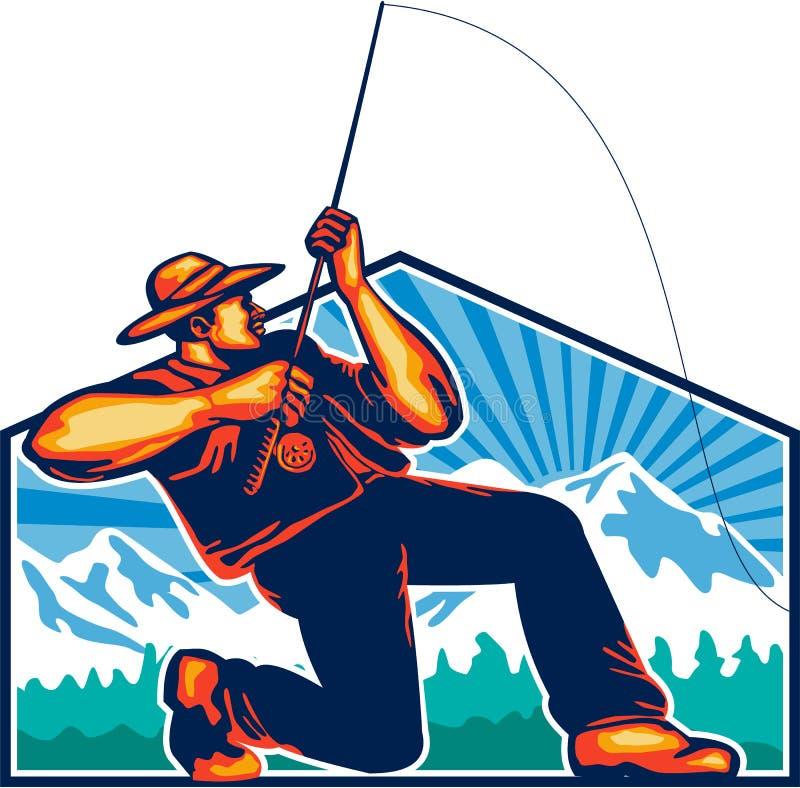 Klipsk fiskare Reeling Fishing Rod Retro royaltyfri illustrationer