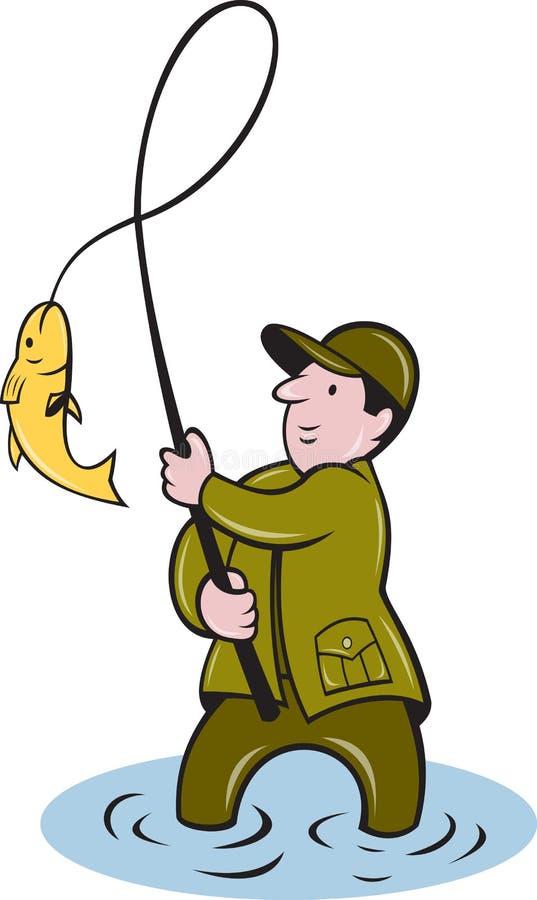 klipsk reeling för fiskfiskarefiske royaltyfri illustrationer