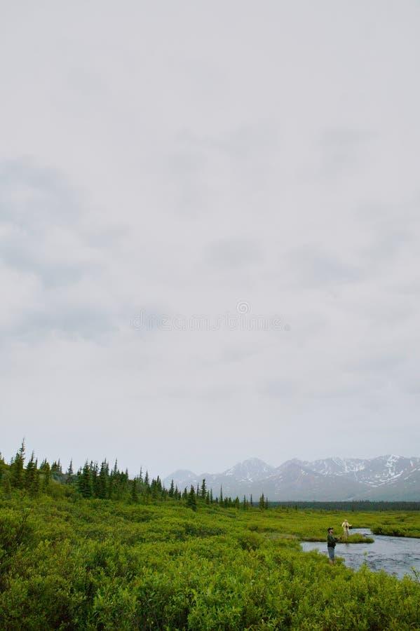 Klipskt fiskarefiske på en avlägsen alaskabo liten vik royaltyfria foton