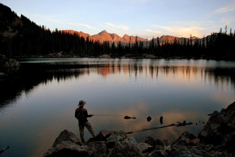 Klipskt fiske på solnedgången arkivfoto