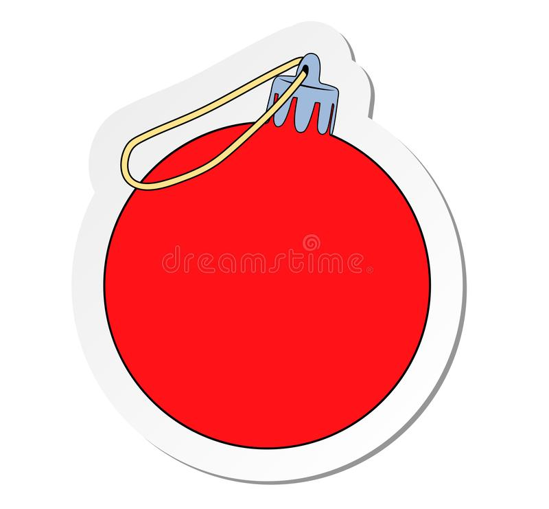 Klistermärke av den röda bollen med öglan för att hänga i plan tecknad filmstil som isoleras på vit bakgrund royaltyfri illustrationer