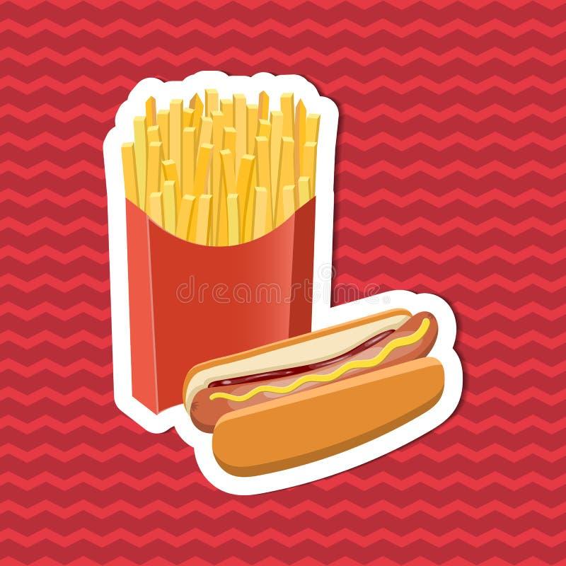 Klistermärke av varmkorven och småfiskar på röd randig bakgrund Beståndsdelar för grafisk design för menyn, affisch, broschyr Vek royaltyfri illustrationer