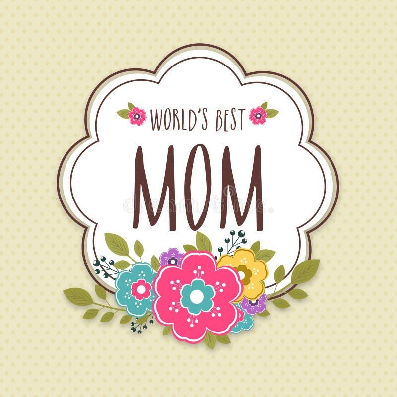 Klistermärke, etikett eller etikett för lycklig mors dagberöm royaltyfri illustrationer