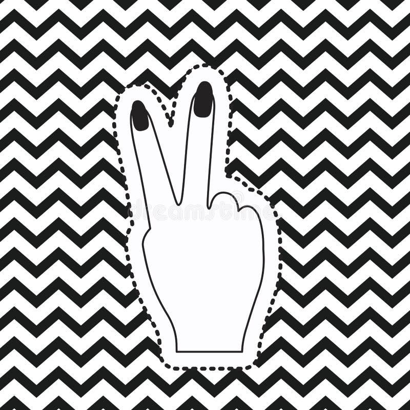 Klistermärke för bakre sikt för symbol för segerhandtecken på bakgrund för sicksack för popkonst linjär monokrom stock illustrationer