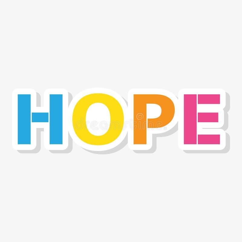Klistermärke för bokstäver för HOPPfärgvektor stock illustrationer