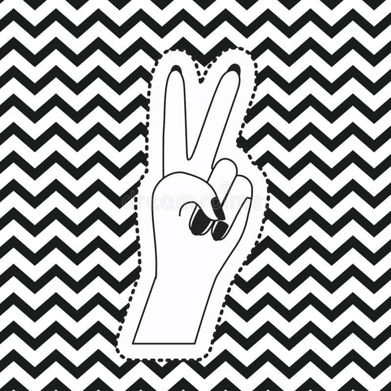 Klistermärke för främre sikt för symbol för segerhandtecken på bakgrund för sicksack för popkonst linjär monokrom vektor illustrationer