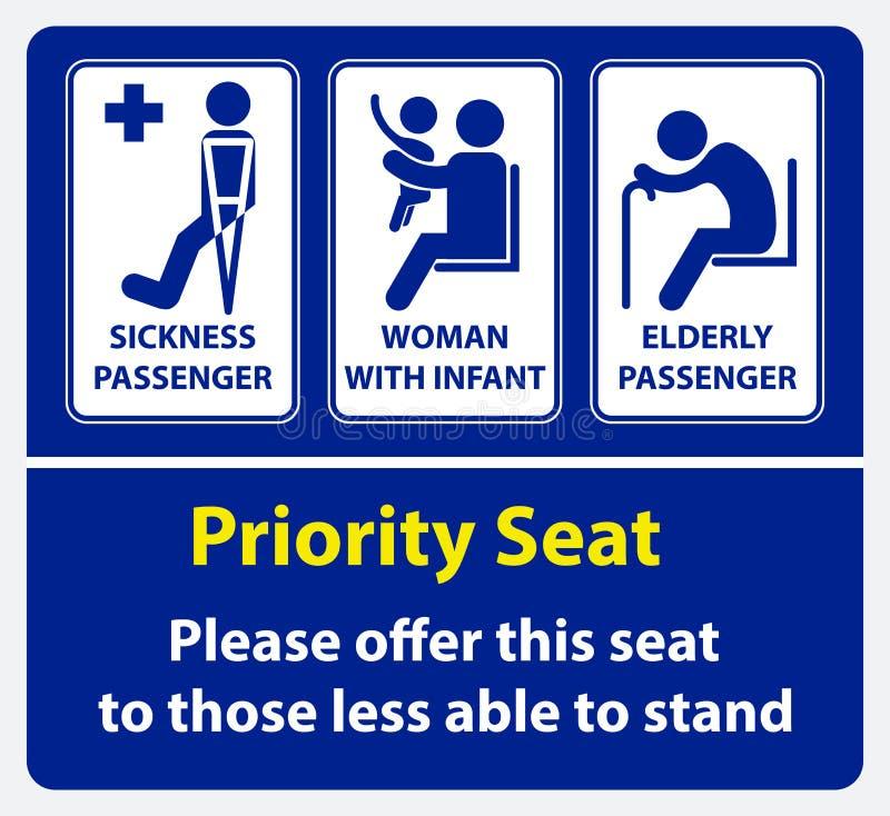 Klistermärke för prioritetsplats genom att använda offentligt trans., som bussen, samlas drevet, snabb transport och annan stock illustrationer